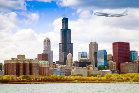 turbulence: Chicago Skyline Panorama With Air Travel