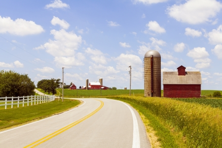 Countryside Road With Old Barn And Big Farm photo