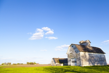 midwest usa: American Farmland With Blue Cloudy Sky