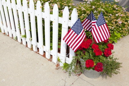 House Garden With American Flags