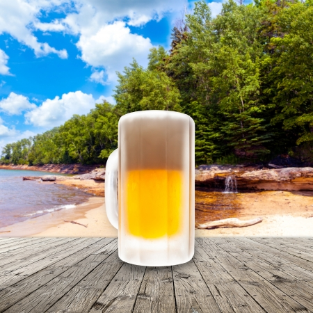 beach side: Fresh cold beer given in chilled pint