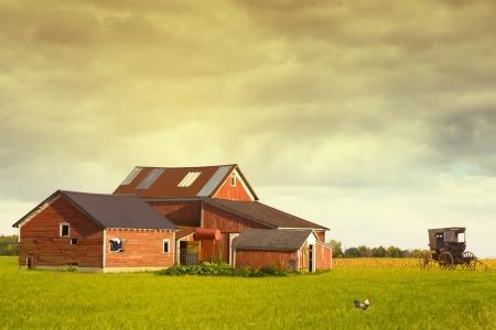 Pennsylvania Farmland With Rainy Sky 報道画像