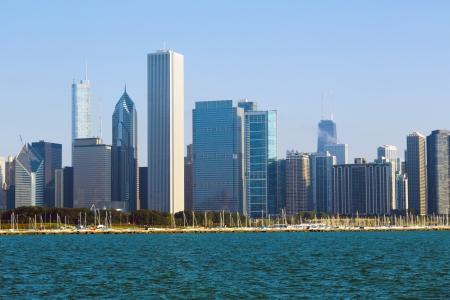emigranti: Chicago Skyline Archivio Fotografico