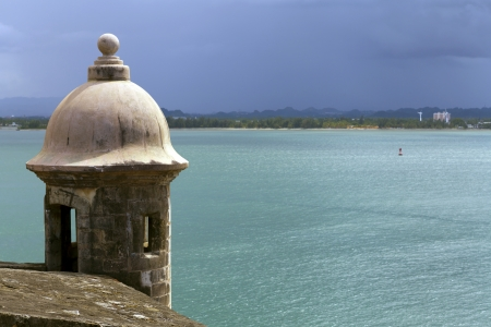 rico: Watch tower in El Morro castle at old San Juan, Puerto Rico. Stock Photo