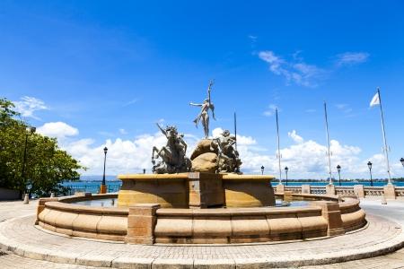 Fountain Paseo de la Princesa in old San Juan, Puerto Rico.  Stock Photo