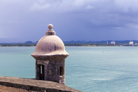 sentry: Watch tower in El Morro castle at old San Juan, Puerto Rico.