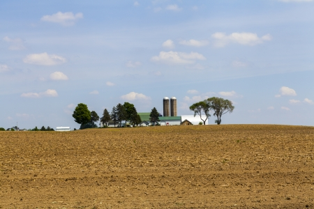 american midwest: American Farmland With Blue Cloudy Sky