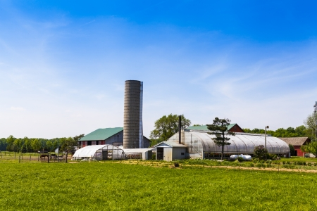 iowa agriculture: American Farmland With Blue Cloudy Sky