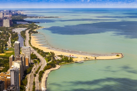 lake shore drive: Chicago Lake Shore Drive Aerial View   Stock Photo