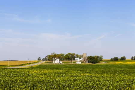 American Farmland With Blue Cloudy Sky photo