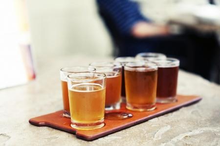 ビール飛行 写真素材