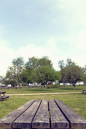 wooden desk: Picknicktafel
