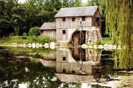 waterwheel: Replica of Water Powered Machine Shop in Rockford Illinois