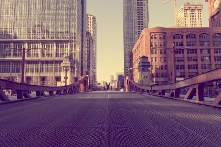 シカゴ橋 - ビンテージ写真効果 写真素材