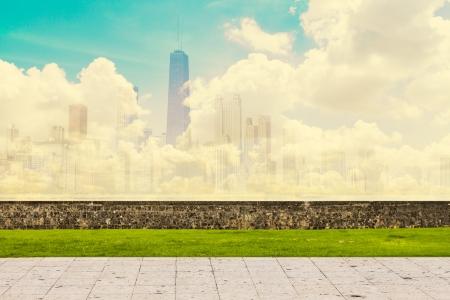 Abstract Skyline With Sidewalk  版權商用圖片