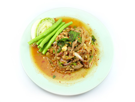 thai spicy minced meat salad on white background photo