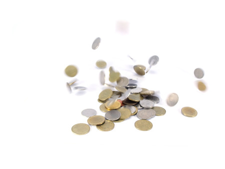 coi: falling coins on white background