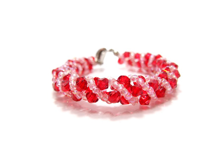 close up of red crystal bead photo