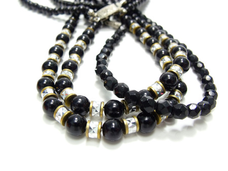 close up of black and silver crystal bead photo