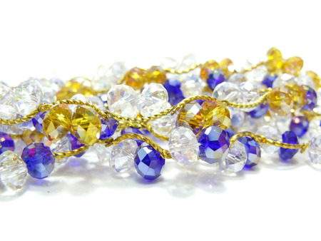 close up of white and blue crystal bead photo
