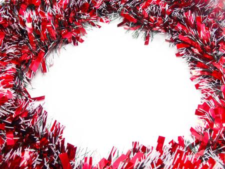 the tinsel: Red Christmas tinsel garland Stock Photo