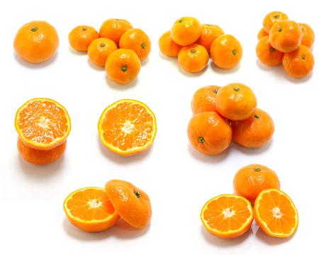 pulpy: Fresh Oranges isolated on white background Stock Photo