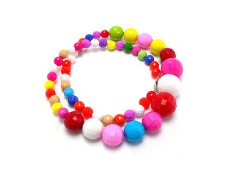bead: colorful wood bead necklace Stock Photo
