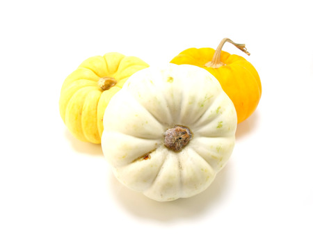 pumkin: collection of mini pumpkin isolated on a white background Stock Photo