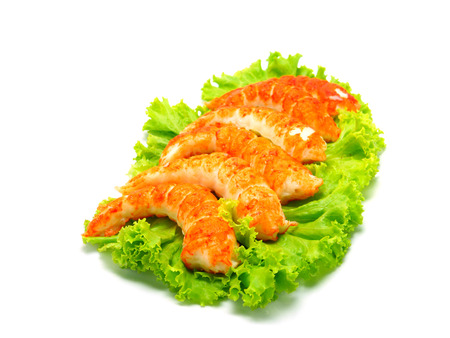 origanum: red shrimps tails with green fresh origanum and lettuce