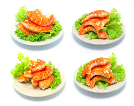 origanum: shrimps tails with green fresh origanum and lettuce Stock Photo