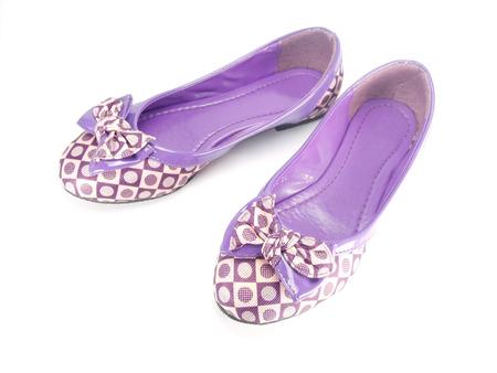 purple shoes: purple fashion shoes on white background Stock Photo