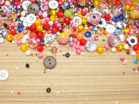 colorful beads: Colorful Beads Decoration on wood background