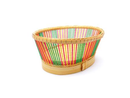 small basket: braiding small basket on white background Stock Photo