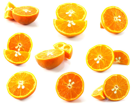pulpy: fresh oranges isolated on white background