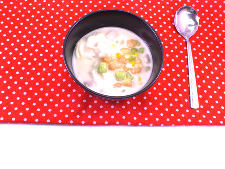 red tablecloth: colorful thai dessert on red tablecloth