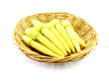 baby corn: baby corn on wooden basket over white background