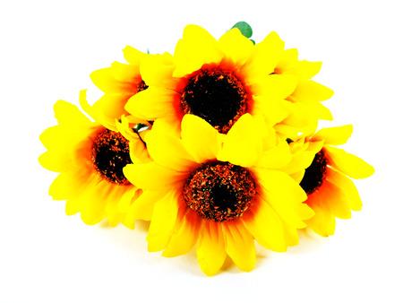 fake: fake sunflower on white background Stock Photo