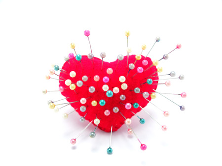 straight pin: heart with straight pin on white background