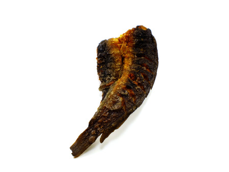 edible fish: fish dried on white background Stock Photo