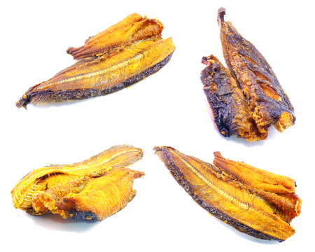 edible fish: set of dried fish on white background
