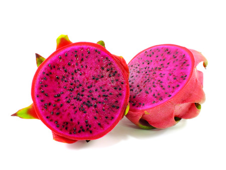 red dragon fruit cut in half on white background Banco de Imagens