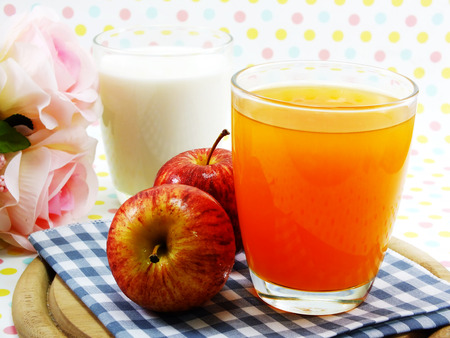 morning breakfast: morning breakfast red apple select focus with orange juice and milk