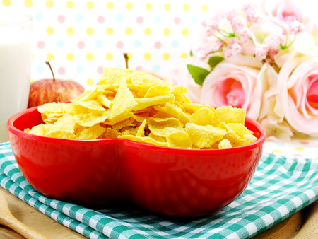 morning breakfast: morning breakfast with fresh apple cornflake and milk selective focus Stock Photo