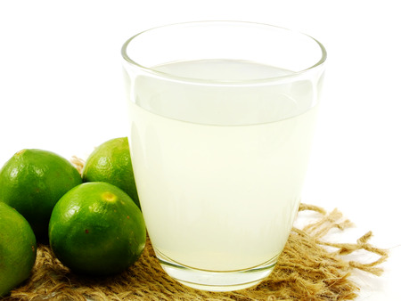 limes: glass filled with fresh made lime juice