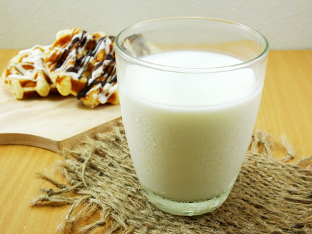 snack: fresh milk and snack Stock Photo
