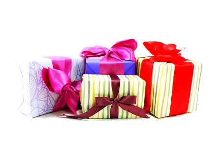 boxs: gift boxs pressent with ribbon decorations on white background for christmas and new year festival