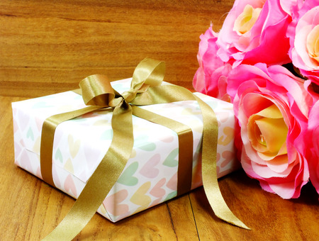 boxs: gift boxs pressent with ribbon decorations for christmas and new year festival Stock Photo