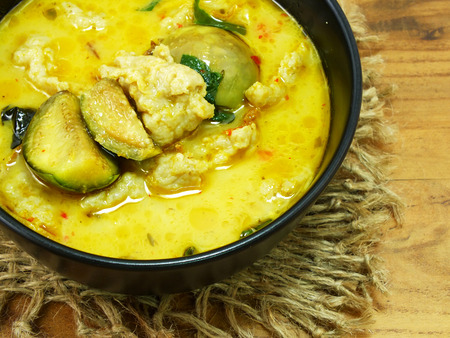 cooked pepper ball: thai cuisine green curry with fish ball