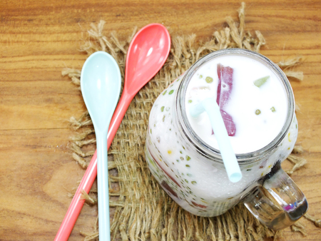 fruity salad: sweet milk tofu with jelly