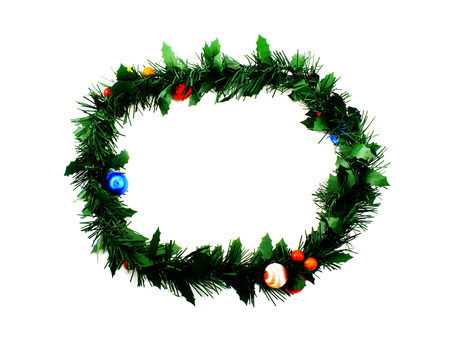 undecorated: traditional green christmas decoration evergreen wreath undecorated isolated on white background
